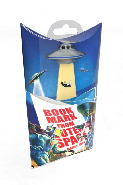 UFO Lesezeichen Silver Spaceship
