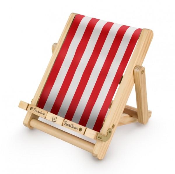 Bookchair Medium | rot-weiß gestreift | Buchständer aus Holz-Cop