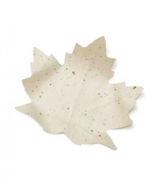 Flexible Hanji-Papierschale Ahornblatt Weiß 20x20cm