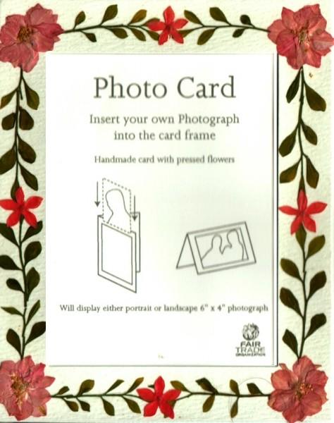 Grußkarte Fotokarte 6er Set mit echten Blütenrahmen