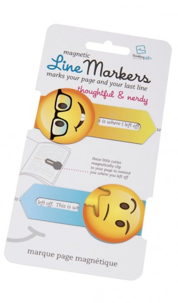 Line Markers Thoughtful&Nerdy - 2 Magnetische Lesezeichen
