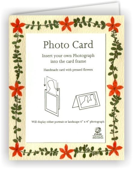 Fair Trade Grußkarte Fotokarte Creme mit echten Blütenrahmen