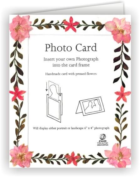 Fair Trade Grußkarte Fotokarte Weiß mit echten Blütenrahmen