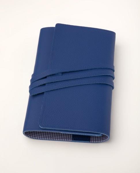LITERAturtasche | Größe L | blau | Buchhülle aus echtem Leder