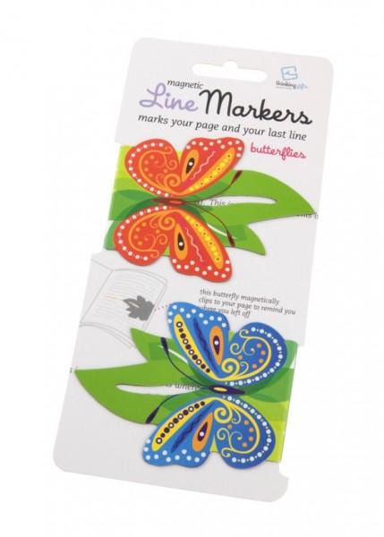 Line Markers Butterflies - 2 Magnetische Lesezeichen
