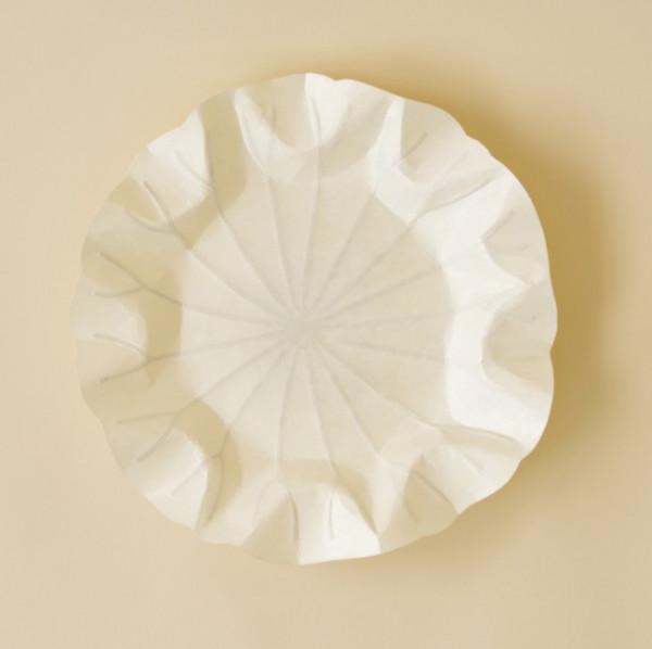 Flexible Hanji-Papierschale Lotusblatt (S) Weiß 20x20cm