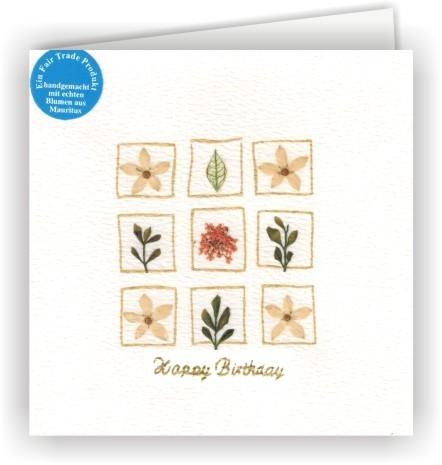 Set mit 6 Fair Trade Grußkarten Happy Birthday Blütenkarten - 9 Blüten