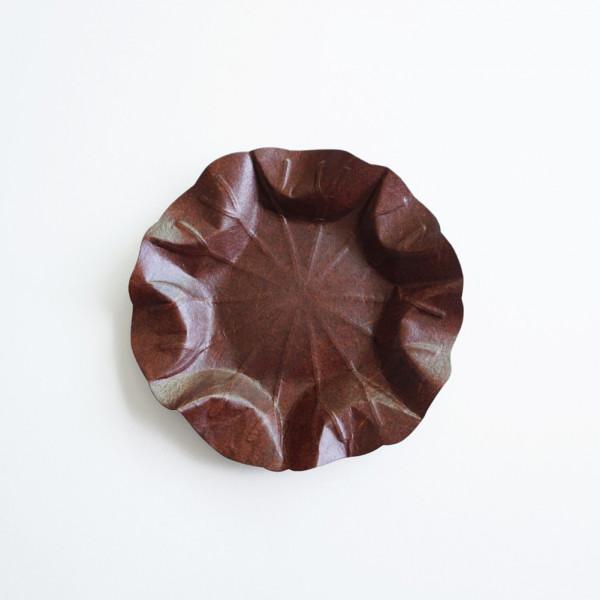 Flexible Hanji-Papierschale Lotusblatt (M) Braun 32x32cm