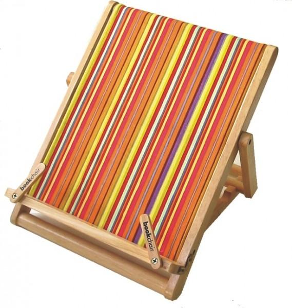 Bookchair Standard | bunt gestreift | Buchständer aus Holz