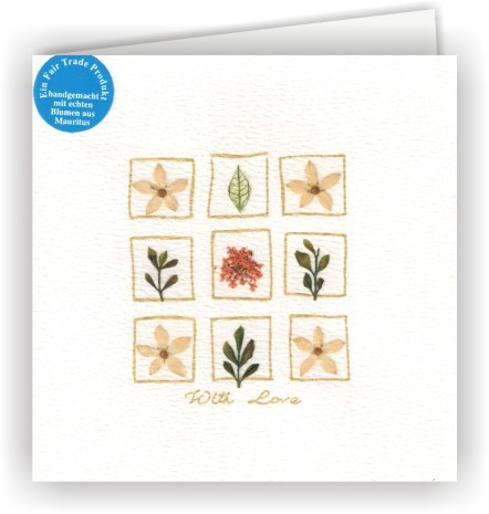 Set mit 6 Fair Trade Grußkarten With Love Blütenkarten - 9 Blüten