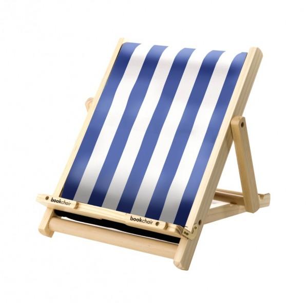 Bookchair Standard | blau-weiß gestreift | Buchständer aus Holz