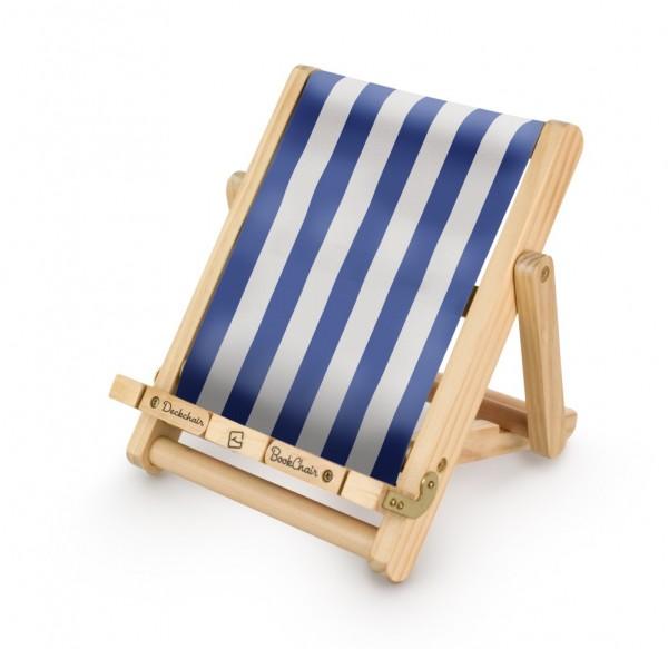 Bookchair Medium | blau-weiß | Buchständer aus Holz