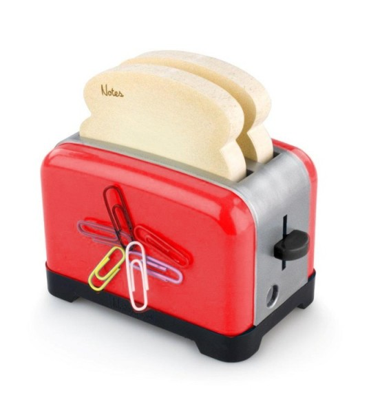 OfficeToaster - Rot - Halter für Memopads, Büroklammern, Handydock, Bleistiftspitzer