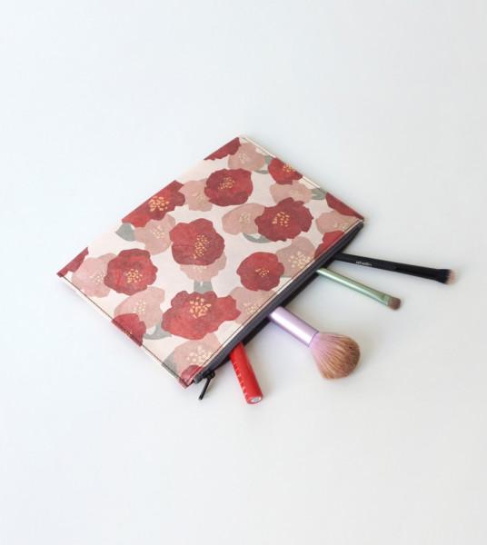 Hanji-Papiertasche Stiftetasche Kosmetiktasche – Rot/Kamelie 23x15cm